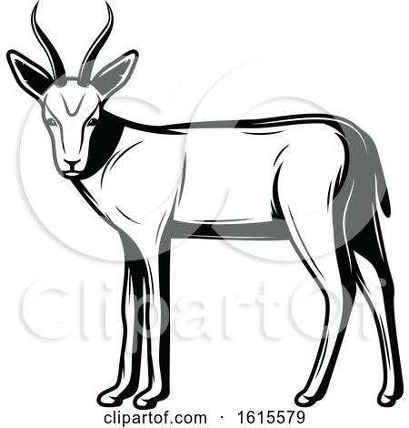 Clipart of a Black and White Gazelle - Royalty Free Vector Illustration by Vector Tradition SM