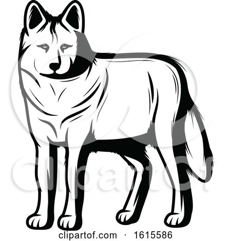 Clipart of a Black and White Wolf - Royalty Free Vector Illustration by Vector Tradition SM