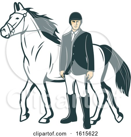 Clipart of a Retro Horse and Equestrian - Royalty Free Vector Illustration by Vector Tradition SM