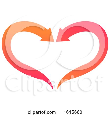 Clipart of a Pink and Orange Arrow Heart Design - Royalty Free Vector Illustration by Vector Tradition SM