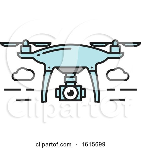 Clipart of a Flying Drone - Royalty Free Vector Illustration by Vector Tradition SM