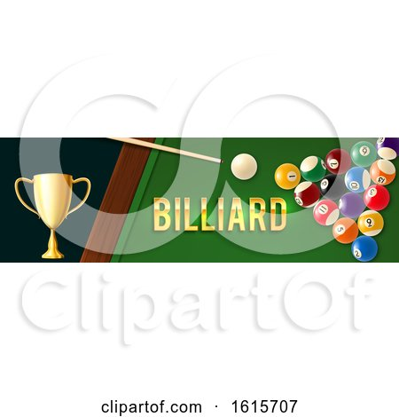 Clipart of a Billiards Website Banner - Royalty Free Vector Illustration by Vector Tradition SM