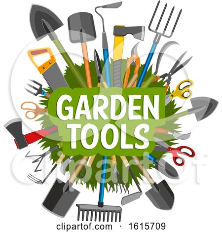 Clipart of a Circle of Garden Tools with Text - Royalty Free Vector Illustration by Vector Tradition SM