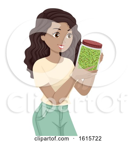 Teen Girl Broccoli Sprouts Illustration by BNP Design Studio