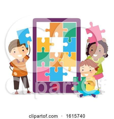 Stickman Kids Cellphone Puzzle Illustration by BNP Design Studio