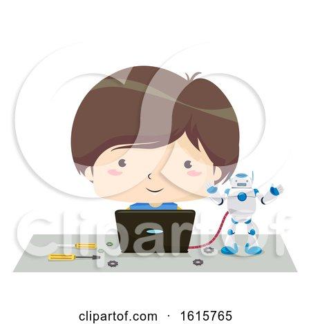 Kid Boy Laptop Program Robot Illustration by BNP Design Studio