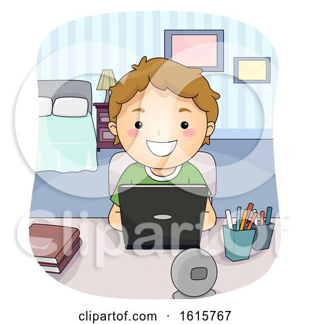 Kid Boy Laptop Study Bedroom Illustration by BNP Design Studio