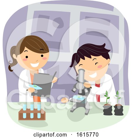 Stickman Kids Botanist Microscope Lab Illustration by BNP Design Studio