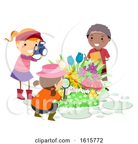 Stickman Kids Botanist Observe Flowers by BNP Design Studio