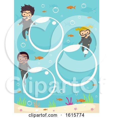 Stickman Kids Bubbles Underwater Illustration by BNP Design Studio