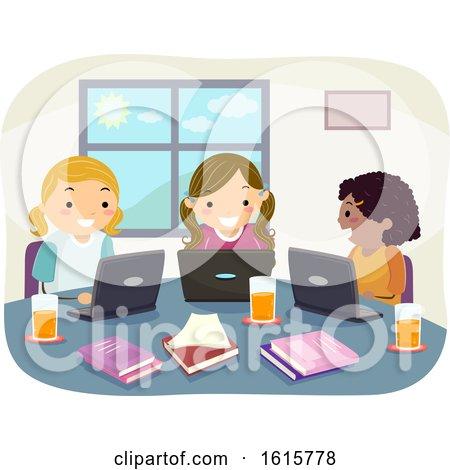 Stickman Kids Girl Group Study Laptop Illustration by BNP Design Studio