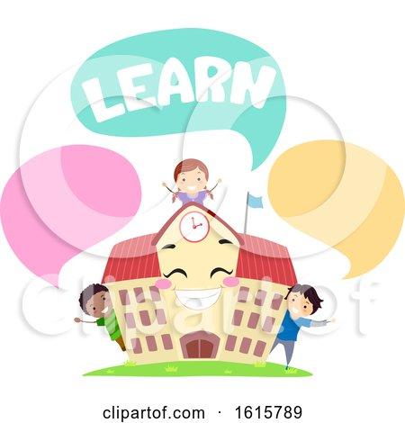 Stickman Kids School Mascot Learn Speech Bubbles by BNP Design Studio