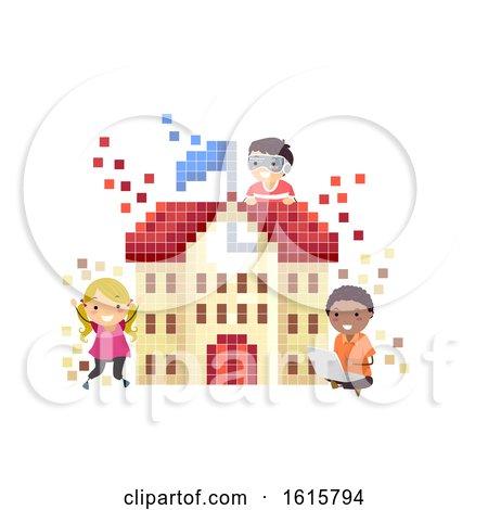 Stickman Kids Virtual School Illustration by BNP Design Studio