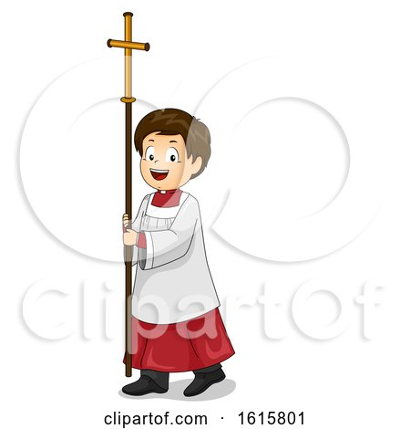 Kid Boy Altar Server Walk Cross Illustration by BNP Design Studio