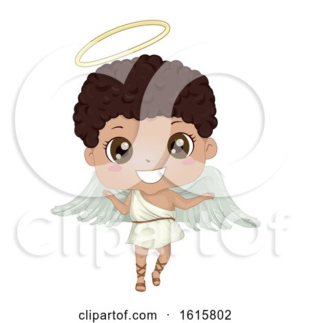 Kid Boy Black Angel Illustration by BNP Design Studio