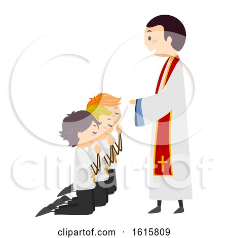Stickman Kids Altar Servers Ordinate Illustration by BNP Design Studio
