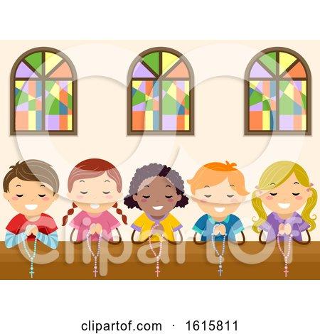 Stickman Kids Pray Rosary Church Illustration by BNP Design Studio