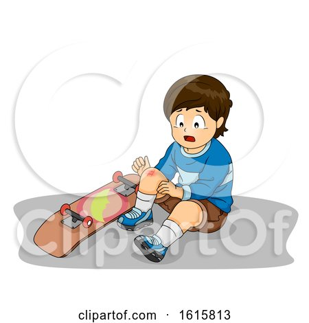Kid Boy Bruise Skateboard Illustration by BNP Design Studio