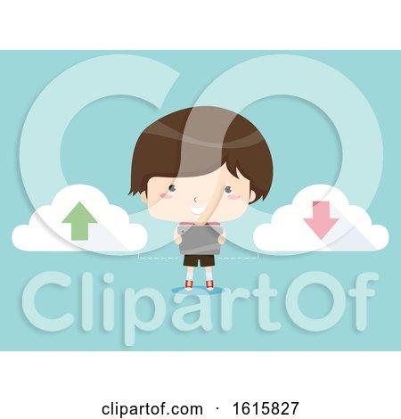 Kid Boy Tablet Upload Download Illustration by BNP Design Studio