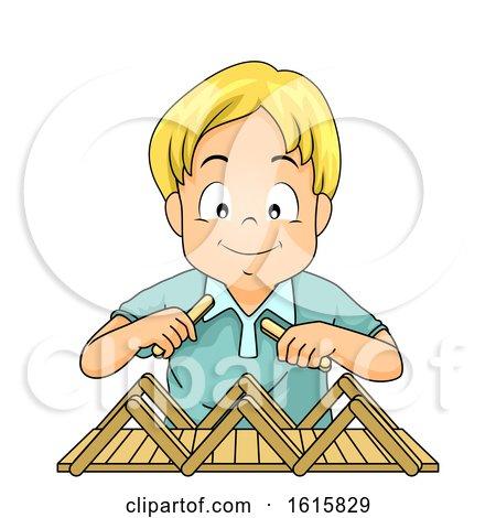 Kid Boy Build Bridge Popsicle Sticks Illustration by BNP Design Studio