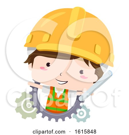 Kid Boy Civil Engineer Construction Illustration by BNP Design Studio