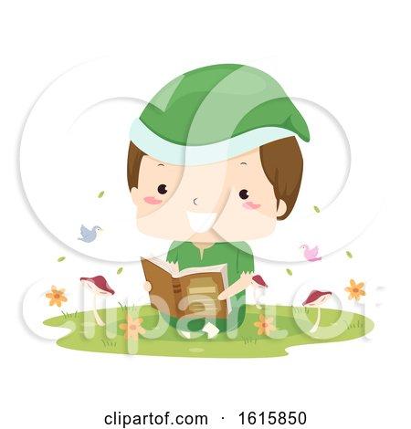 Kid Boy Elf Woodland Read Book Illustration by BNP Design Studio