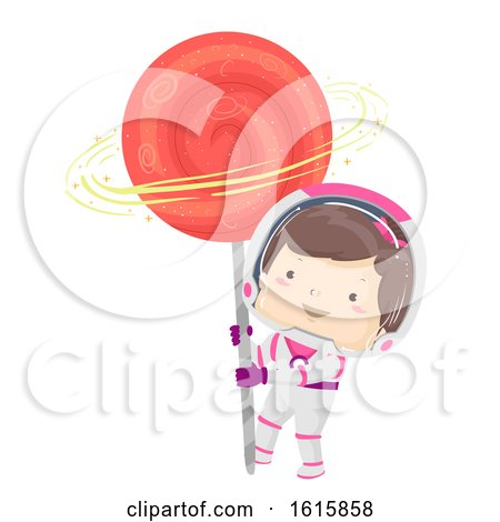 Kid Girl Astronaut Lollipop Illustration by BNP Design Studio