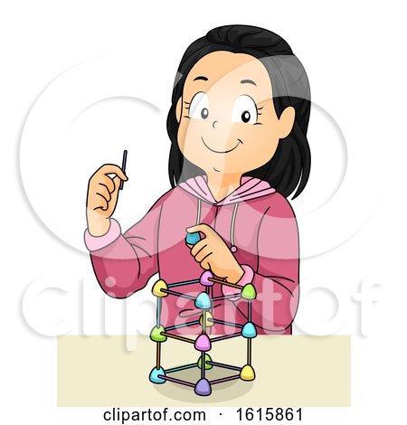 Kid Girl Gumdrops Sticks Engineering Illustration by BNP Design Studio