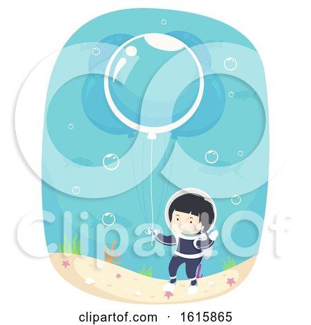 Kid Boy Bubble Balloon Underwater Illustration by BNP Design Studio