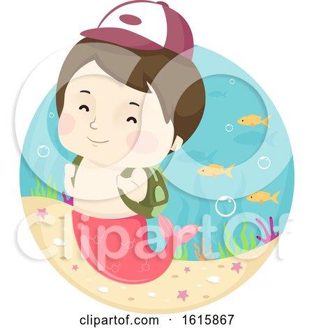 Kid Boy Mermaid School Boy Illustration Posters, Art Prints