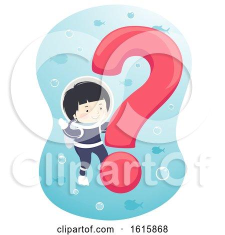 Kid Boy Question Mark Underwater Illustration by BNP Design Studio