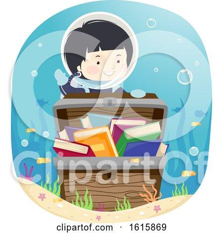 Kid Boy Treasure Chest Books Underwater by BNP Design Studio
