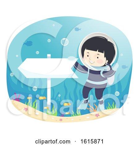 Kid Boy This Way Direction Underwater Illustration by BNP Design Studio