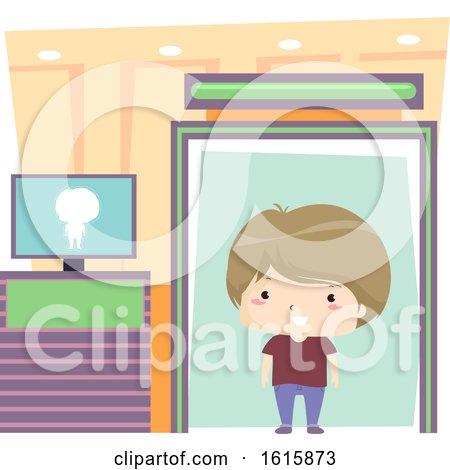 Kid Boy Airport Detector Machine Illustration by BNP Design Studio