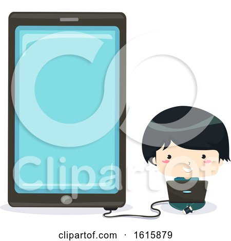 Kid Boy Laptop Phone Connect App Illustration by BNP Design Studio