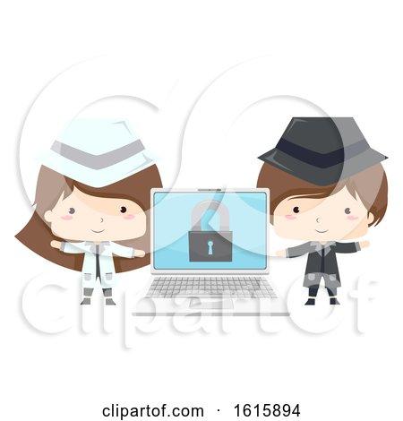 Kids Black White Hacker Laptop Illustration by BNP Design Studio