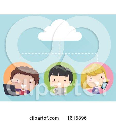 Kids Cloud Connection Gadgets Illustration by BNP Design Studio