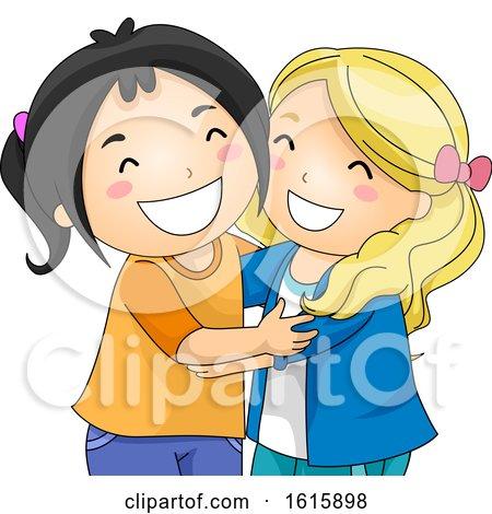Kids Girlfriends Hug Illustration by BNP Design Studio