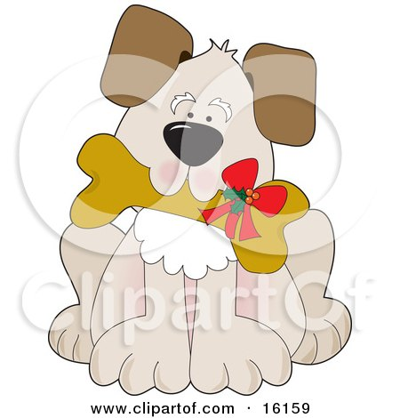Cute Puppy Dog Carrying A Dog Biscut With A Christmas Bow On It Clipart Illustration Image by Maria Bell