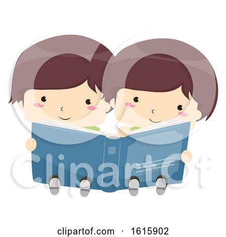 Kids Twins Boy Share Read Book Illustration by BNP Design Studio
