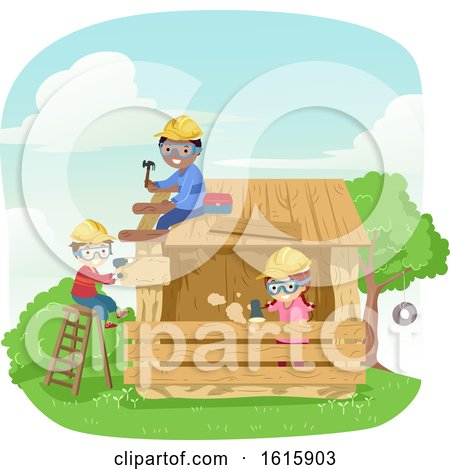 Stickman Kids Building Wooden House Illustration by BNP Design Studio