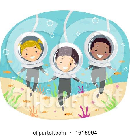 Stickman Kids Underwater Sea Walk Illustration by BNP Design Studio