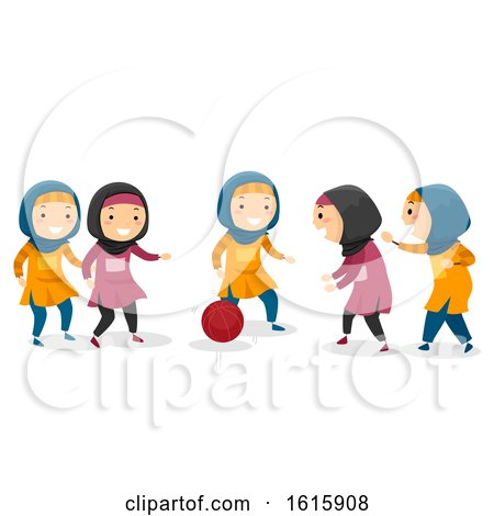 Stickman Kids Muslim Girls Basketball Game by BNP Design Studio