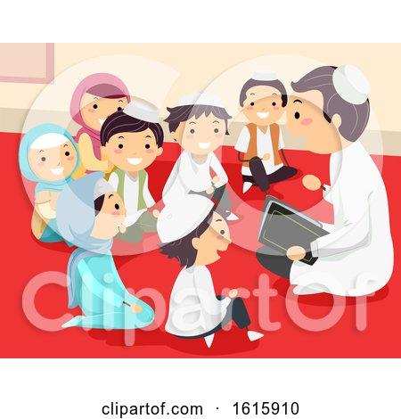 Stickman Kids Muslim Preacher Temple Illustration by BNP Design Studio