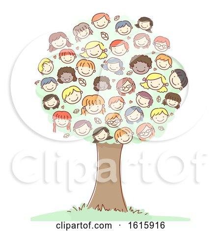Tree Stickman Kids Heads Illustration by BNP Design Studio