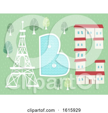Letters Tower Fountain Hotel Illustration Posters, Art Prints