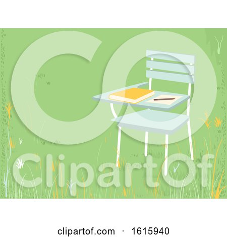 School Armchair Outside Pencil Paper Illustration by BNP Design Studio
