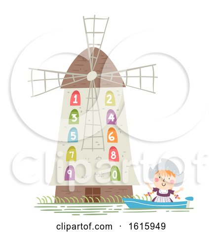 Kid Girl Netherlands Dutch Windmill Illustration by BNP Design Studio