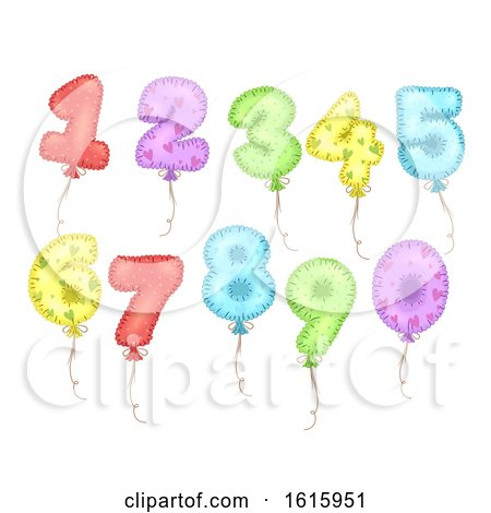 Mylar Balloons Numbers Illustration by BNP Design Studio