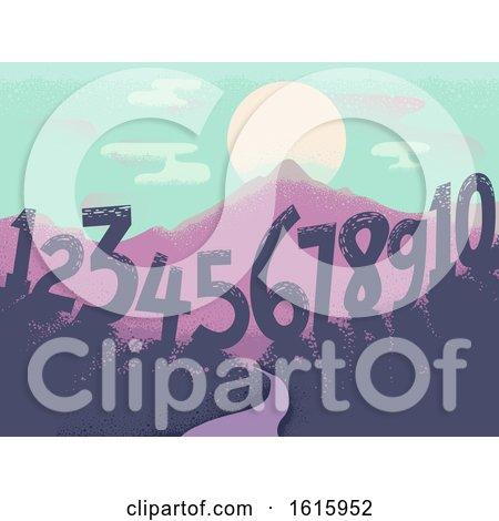 Numbers Landscape Sun Illustration by BNP Design Studio